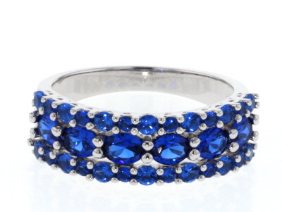 Blue Lab Created Spinel Rhodium Over Sterling Silver Ring 1.56ctw