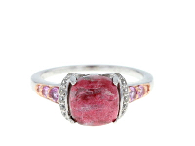 Red Thulite Rhodium Over Sterling Silver Ring .43ctw