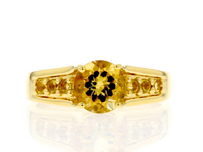 Yellow citrine 18k yellow gold over sterling silver ring 1.30ctw