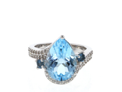 Sky Blue topaz rhodium over silver ring 5.35ctw