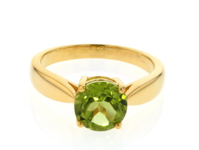 Green Peridot 18k Gold Over Sterling Silver Ring 1.70ct