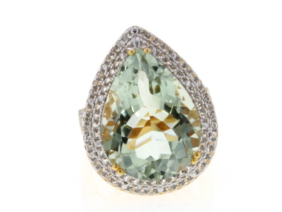 Green Prasiolite 18k Yellow Gold Over Silver Ring 12.63ctw