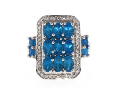 Blue Neon Apatite Rhodium Over Silver Ring 2.69ctw