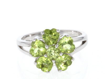 Green peridot rhodium over sterling silver ring 2.17ctw
