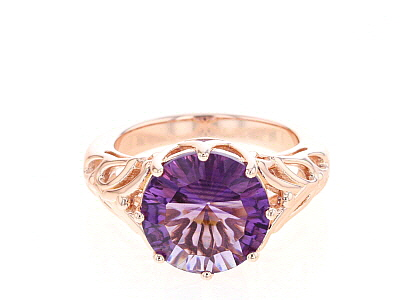 Purple amethyst 18k rose gold over silver ring 3.88ct