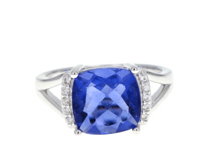 Blue color change fluorite rhodium over silver ring 4.73ctw