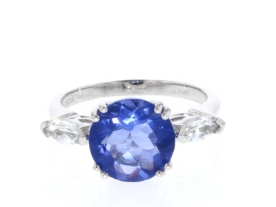 Blue color change fluorite silver ring 4.75ctw