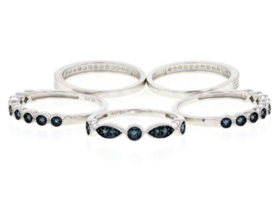 Blue And White Diamond Rhodium Over Sterling Silver Set Of 5 Stackable Rings .60ctw