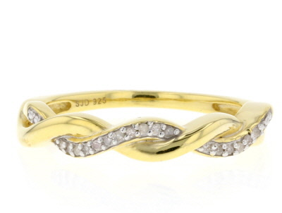 White Diamond Accent 14K Yellow Gold Over Sterling Silver Ring