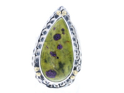 Green Serpentine Silver Ring
