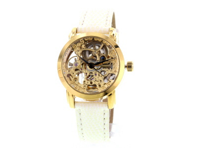 Gold Tone White Strap Automatic Skeleton Watch