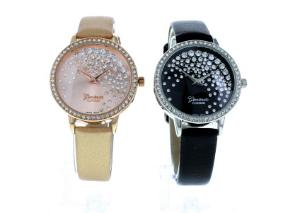 Three Tone White Crystal Watch Set Of 4