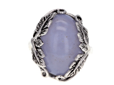 Blue chalcedony sterling silver ring