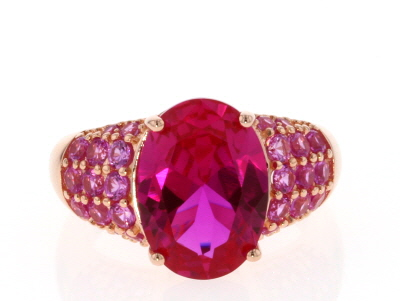 Pink lab created sapphire 18k rose gold over silver ring 7.53ctw