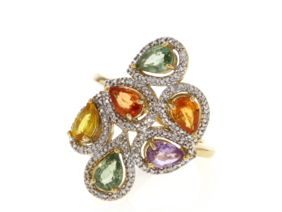 Multi-Color Sapphire 18k Gold Over Sterling Silver Ring 2.35ctw