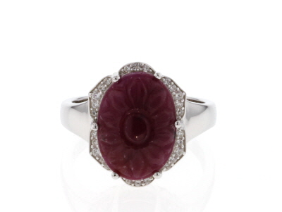 Red ruby rhodium over silver ring 5.94ctw