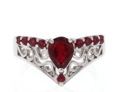 Red ruby rhodium over sterling silver ring 1.82ctw