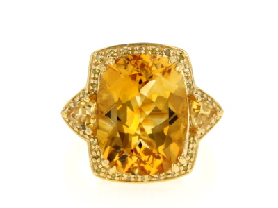 Yellow citrine 18k yellow gold over silver ring 7.65ctw