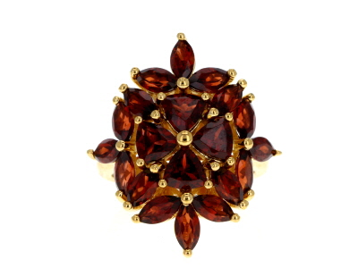 Red garnet 18k yellow gold over silver ring 6.25ctw