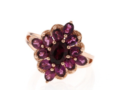 Raspberry color rhodolite 18k rose gold over silver ring 2.65ctw