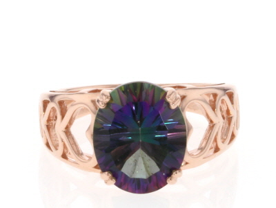 Mystic Fire® green topaz 18k rose gold over silver ring 4.96ctw