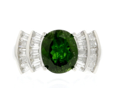 Green Chrome Diopside Sterling Silver Ring 5.72ctw