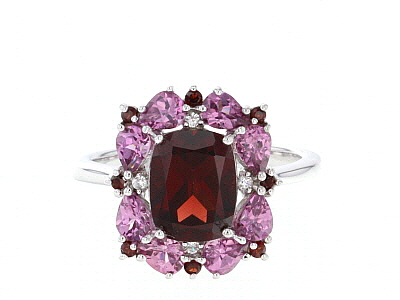 Red garnet rhodium over sterling silver ring 3.69ctw