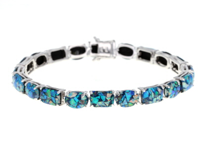 Multi-color Opal Rhodium Over Sterling Silver Bracelet