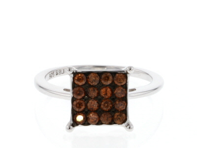 Brown zircon rhodium over sterling silver ring .82ctw