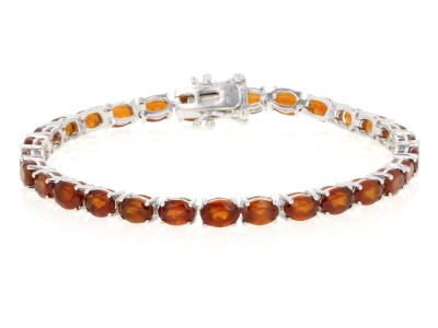 Red Hessonite Garnet rhodium over sterling silver bracelet 17.25ctw