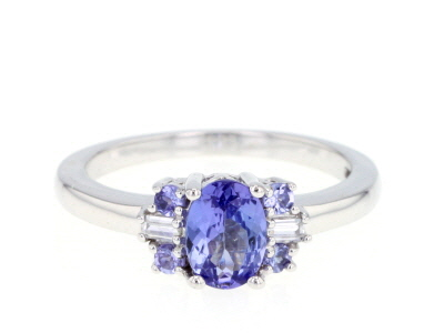 Blue tanzanite sterling silver ring 0.91ctw
