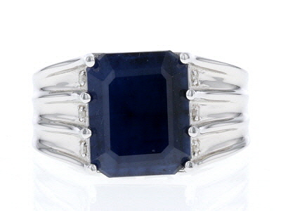 Blue Sapphire Rhodium Over Silver Ring 6.17ctw