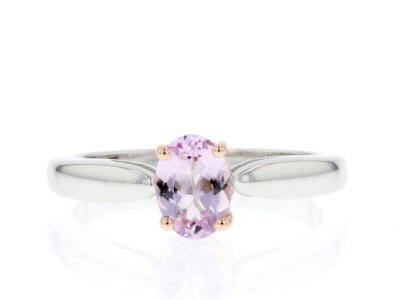 Pink topaz rhodium over sterling silver solitaire ring .74ct