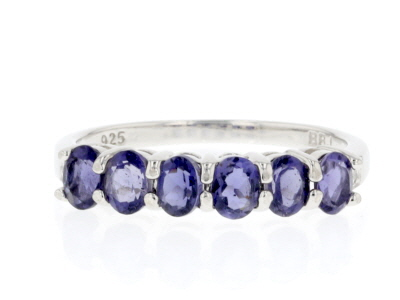 Purple iolite rhodium over sterling silver ring .85ctw
