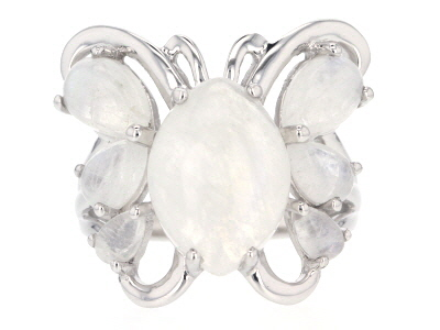 White rainbow moonstone sterling silver butterfly ring
