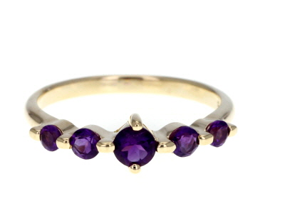 Purple African Amethyst 10k Gold Ring .50ctw