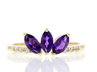 Purple African Amethyst 10k Yellow Gold Ring .66ctw