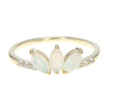 Multi-Color Ethiopian Opal 10k Yellow Gold Ring .49ctw