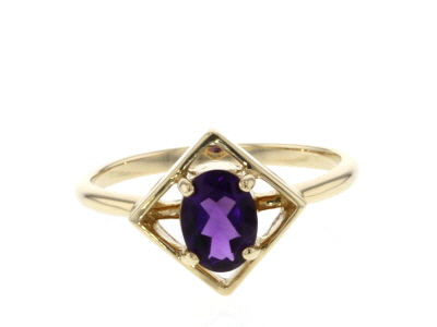 Purple African Amethyst 10k Yellow Gold Ring .63ctw