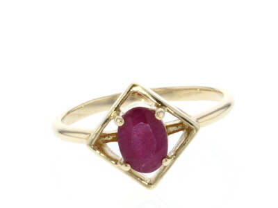 Red Ruby 10k Yellow Gold Ring .80ct