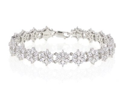 White Cubic Zirconia Rhodium Over Sterling Silver Bracelet 17.19ctw
