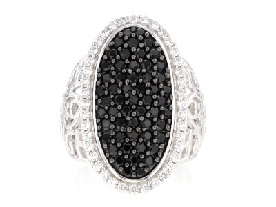 black spinel and white zircon rhodium over silver ring