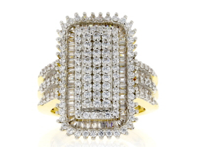 White Cubic Zirconia 18K Yellow Gold Over Sterling Silver Cluster Ring 3.49ctw
