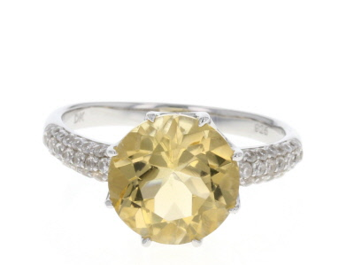 Golden Citrine Sterling Silver Ring 3.38ctw