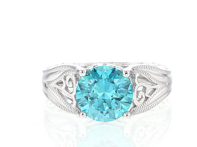 Mint Green Zirconia From Swarovski ® Rhodium Over Sterling Silver Center Design Ring 6.58ctw