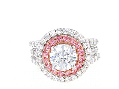 Swarovski ® Fancy Pink & White Cubic Zirconia Rhodium Over Sterling Silver Ring 7.11ctw