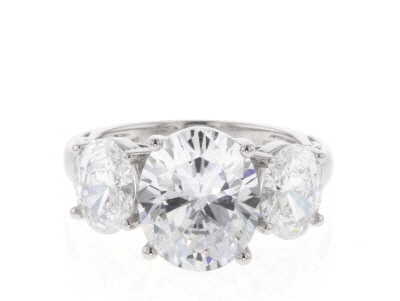 Swarovski ® White Zirconia Rhodium Over Sterling Silver Ring 12.73CTW