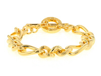 18k Yellow Gold Over Bronze Curb 7 3/4 inch Bracelet