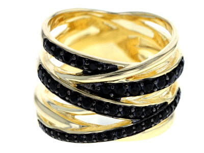 .70ctw Black Spinel 18kt Yellow Gold Over Bronze Interwoven Band Ring