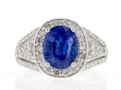 Blue Kyanite Rhodium Over Sterling Silver Ring 3.59ctw